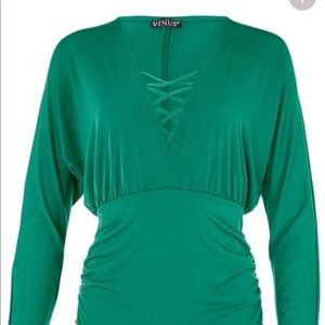 NWT Venus criss cross green top blouse sz large